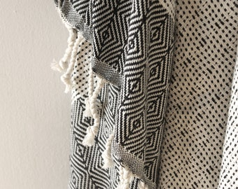 Bamboo Hand Loomed Hammam Towel Black Tribal Aztec Print (170 x 100 cm)