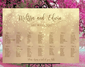 Wedding seating chart printable, custom wedding gold sign,  seating assignments,seating plan, table assignment personalized guests list