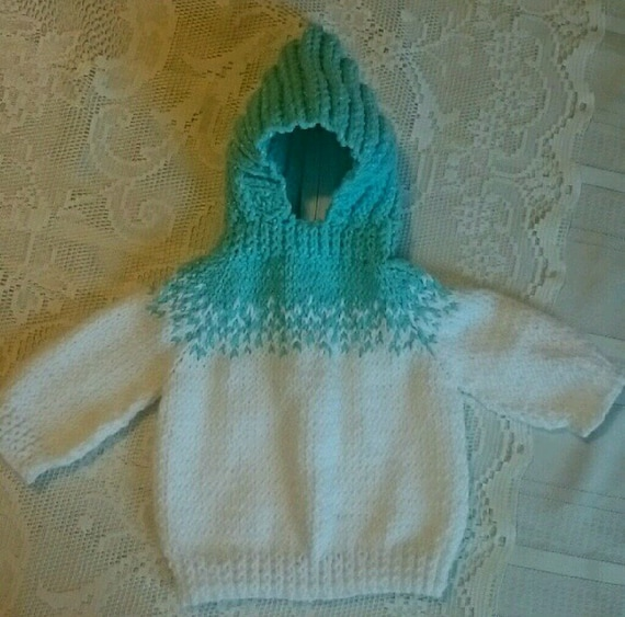 Knitting Pattern For Baby Sweater With Zipper In The Back : Hand Knit Hooded Baby Back Zipper Sweater by LorisArtisanAccesrys