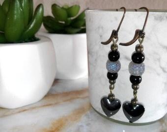 Black heart and Sparkle Dangle Earrings