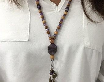 Amethyst mala tassel woman pendant necklace