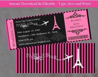 Paris theme party boarding pass invitation real airline editable double sided boarding pass invitation paris theme invitation bridal shower invitation solutioingenieria Choice Image