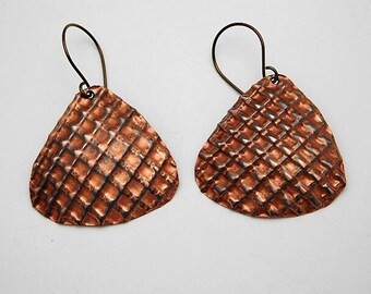 Formed and Corrugated Copper Dangle Earrings