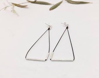 Long earrings /Sterling silver earrings /Minimal earrings /Geometrics earrings /Jewelry for gift /Jewerly design /Handmade /Unique design