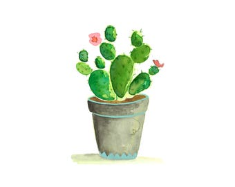 Succulent in Grey Pot Print