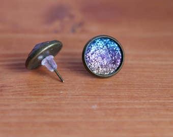 Glittery Earrings, Sparkly Earrings, 12mm Stud Earrings, Brass Earrings, Blue Earrings, Pink Earrings, Ombre Glitter Earrings, Resin Earring