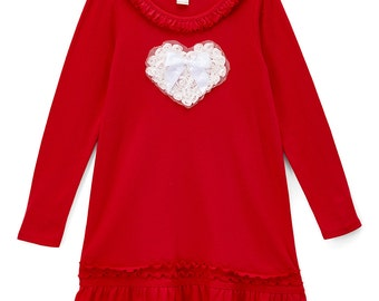 valentines day dress red and white sweetheart dress girls heart dress red and