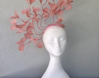 Ladies dusty pink feather headband fascinator
