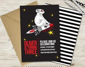 Space Koala Birthday Invitation