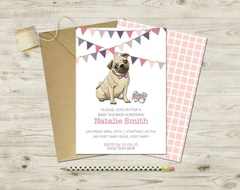 Pug Baby Shower Invitation