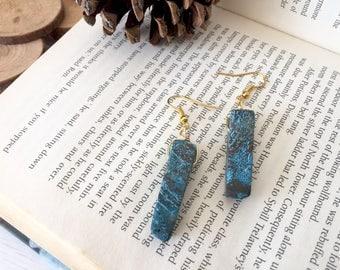 Ocean Jasper Gold Pendant Gemstone Earrings, Perfect Gift For Her/Mum/Sister/Bestfriend/Girlfriend