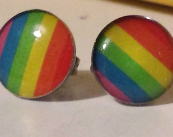 Rainbow LGBT Stainless Steel Stud Earrings