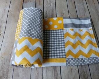 Grey and Yellow Baby Blanket, Minky Blanket, Nursery Decor,grey, yellow, nautical, Chevron, Nursery Decor