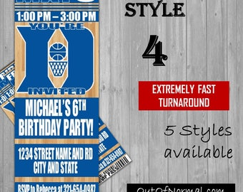 Duke Blue Devils Themed Birthday Invitation Tickets - Football basketball college Birthday Invitations -Personalized invites!