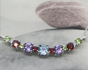 Fine silver necklace with Topaz blue Amethyst Garnet Peridot (8.9 carats). 25% with code: SOLD17