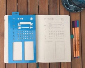A5 Planner stencil - week layout - reusable - bullet journal / planner / template