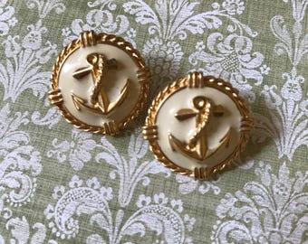 Vintage Nautical Anchor Earrings, Gold, Cream, Pierced