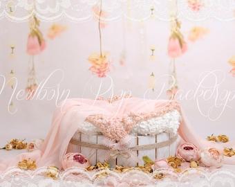 Newborn Digital Backdrop (bowl/peonies/roses)