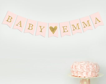 Personalised Custom Bunting Baby Shower Banner Garland  Gold Pink Girl Decorations Party