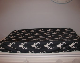 Changing mattress cover in Navy cotton with deer motif