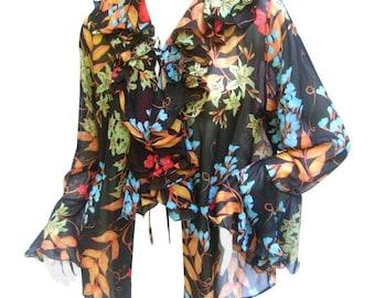 Romantic Bessi Silk Floral Ruffled Sheer Blouse