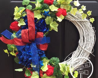 Patriotic Wreath, RedWhiteBlue Wreath, Memorial Day Wreath, Summer Wreath, Wreath Street Floral, Grapevine Wreath, Front Door Wreath