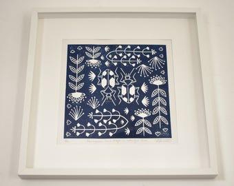 Panagaeus Crux Major in midnight blue, limited edition scandinavian folk art, linocut print