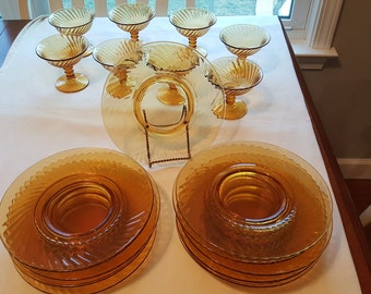 Vintage Lot of 20 Amber Swirl Glass Plates and Custard Cups/wine glasses