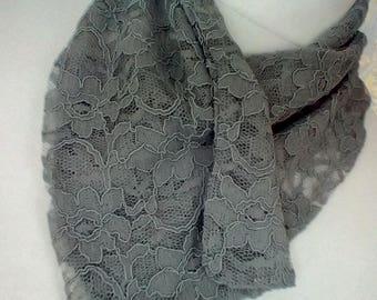 Grey lace Scarflette FREE Postage Anywhere