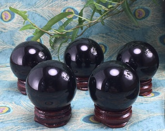 Obsidian Crystal Spheres Free Wood Stand Reiki Crystal Healing