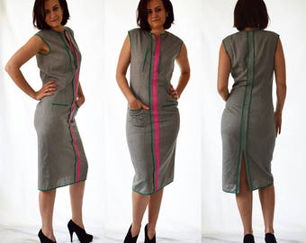 Grey, pink, green pencil, sleeveless, elegant, casual, shift dress with front pockes. Size UK 12 / US 8