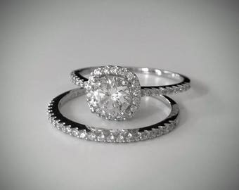 1.45 Ct 14K Real White Gold Round Cut  Engagement Ring & Wedding Band Bridal Set Diamond Laden Shank and Halo