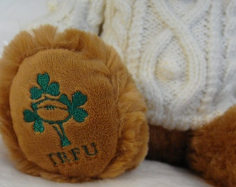Adorable Hand Knit Aran Sweater and Hat on Irish Rugby Teddy