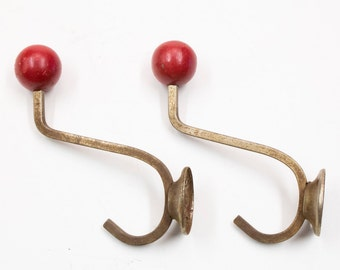 2 Vintage 1950s coat rack hooks up with red wooden beads-hooks-Retro Fifties Interior