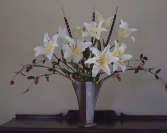Silk lily arrangement