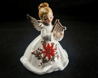 Josef Originals Porcelain Angel Figurine Holding A Lyre Christmas Poinsettia Dress