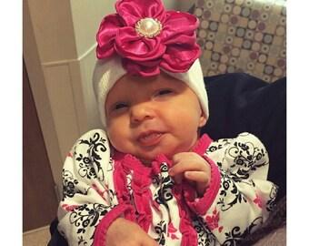 Baby girl newborn hat with Hot Pink satin flower- newborn hospital hat, newborn beanie, baby girl newborn, baby hat, baby shower gift