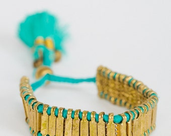 Tassel Ruby Bell Bracelet, Handmade, Gold Beads, Pink, Aquamarine, Jewellery, Everyday Jewelry, Boho Chic, Trending, JO4