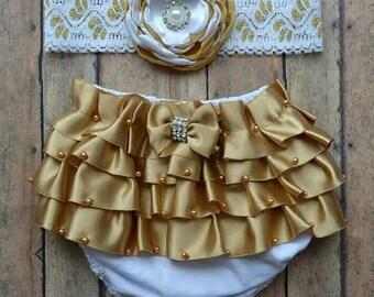 Newborn gold bloomer set - baby bloomer - newborn gold headband - baby headband - newborn bloomer - christmas bloomer - baby shower gift