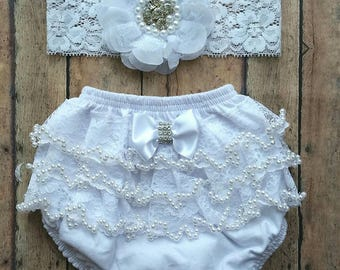 Baptism white bloomer set - baby bloomer - wedding baby bloomer - newborn photo shoot - newborn bloomer - baby shower gift set - baby gift