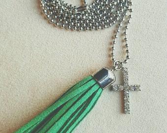 Green Tassel Necklace