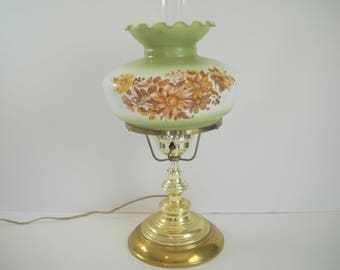 Hurricane Electric Lamp with Flowers