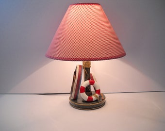 Nautical Lamp with Matching Red Shade  Accent Lamp
