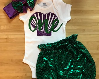 Mermaid Birthday Outfit First Birthday Under The Sea Mermaid Shorts Fish Scale Mermaid Outfit Mermaid Scale