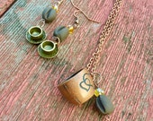 Coffee cup earrings, coffee cup necklace, Necklace and earring set, coffee bean necklace, coffee bean earrings, coffee bean jewelry, coffee