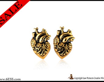 Anatomical Gold Plated Heart  Earrings,Human Heart Earrings,Heart Stud Earrings,Love Gift,Anatomy Jewelry