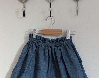 Cotton skirt color blue jeans Girl. Available sizes 18 months-5 years to order. 2-3 years ready for shipment