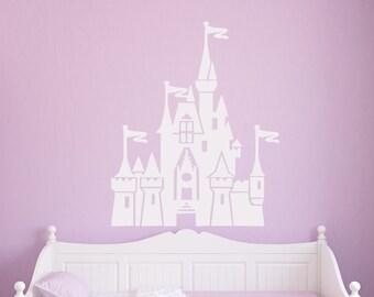 Castle Silhouette - wall vinyl decal, home decor, vinyl sticker, bedroom decor decal, childrens vinyl decal