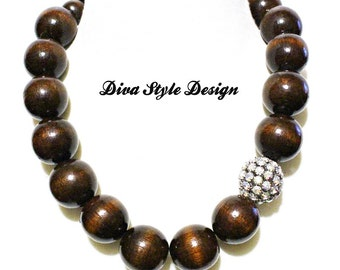 Mahogany Wood Statement Necklace
