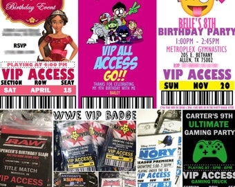 Kids Birthday Party VIP Pass Badge Invitations - All Themes / Characters